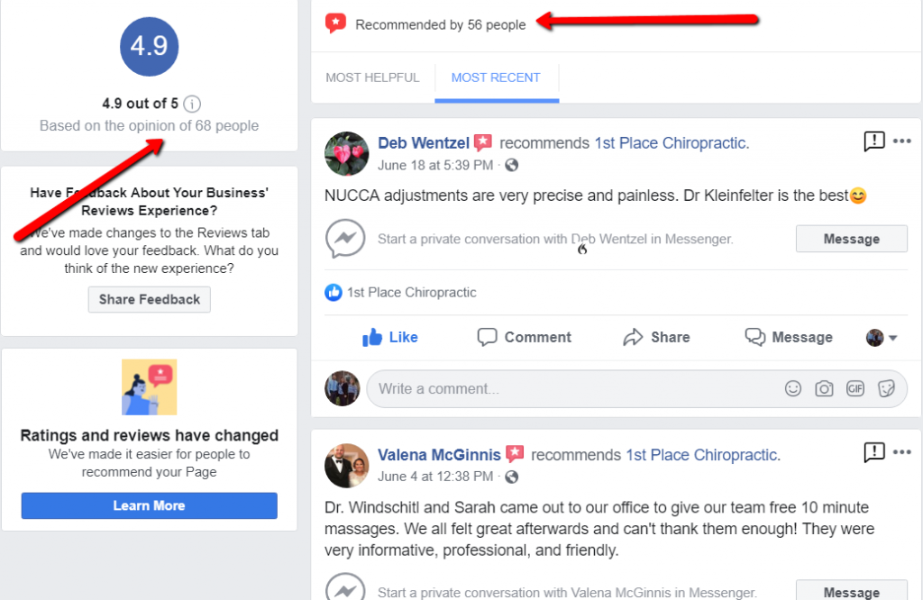 Facebook reviews and recommendations improve online reputation