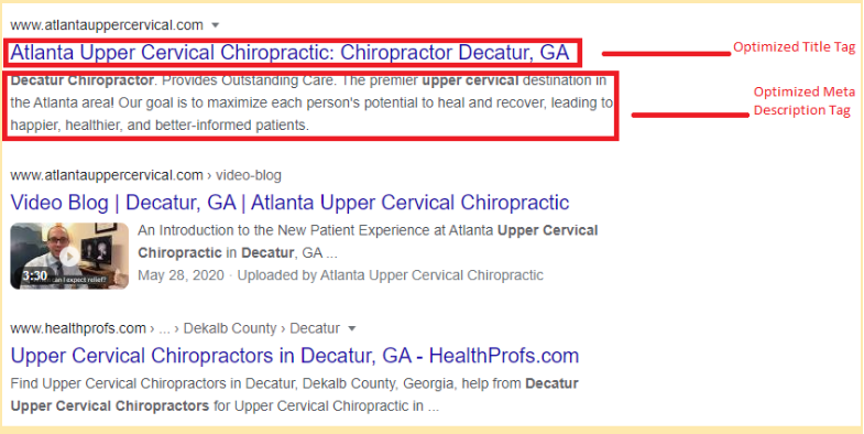 chiropractor on-page SEO
