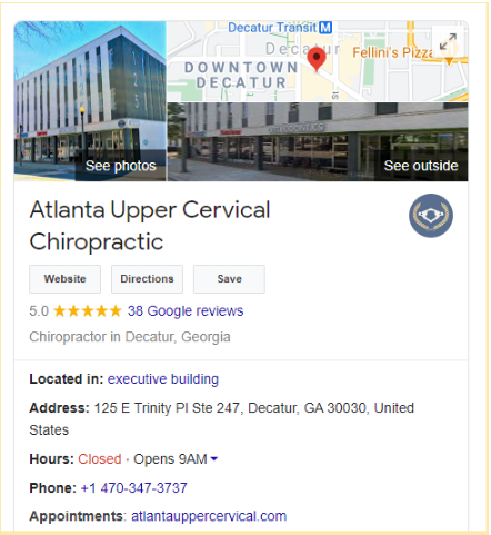 chiropractor SEO Google My Business listing